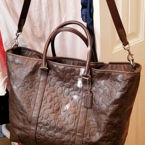 Coach Large overnight bag; espresso;leather emboss